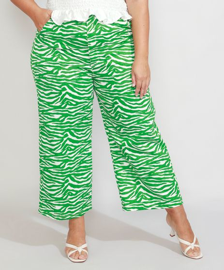Calca-Wide-Reta-Plus-Size-Alfaiataria-Estampada-Animal-Print-Zebra-Cintura-Alta-Mindset-Verde-9990553-Verde_1