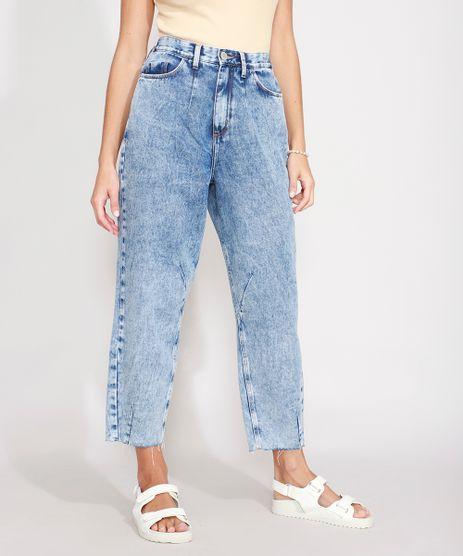 Calca-Jeans-Feminina-Baggy-Cintura-Super-Alta-Marmorizada-Azul-Medio-9988920-Azul_Medio_1
