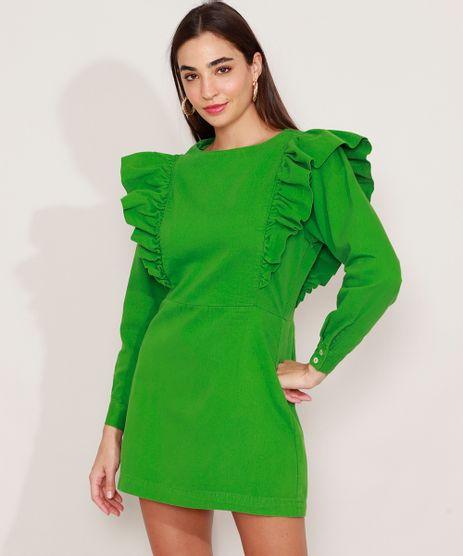Vestido-de-Sarja-com-Babado-Curto-Manga-Longa-Mindset-Verde-9991491-Verde_1
