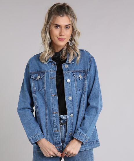 Jaqueta-Jeans-Feminina-com-Bolsos-Azul-Medio-9223849-Azul_Medio_1