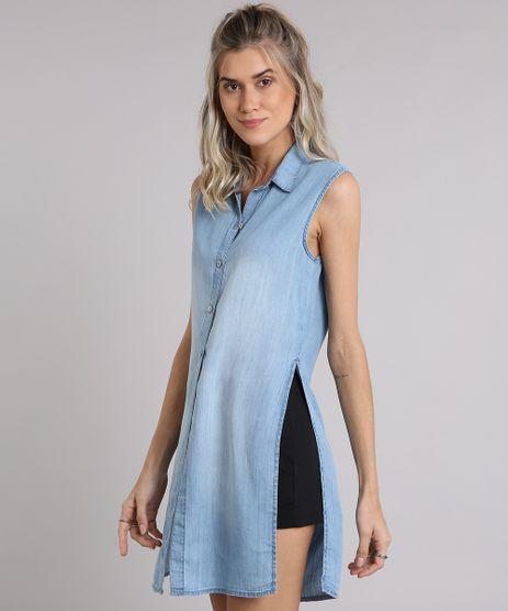 Camisa-Jeans-Feminina-Longa-Sem-Manga-com-Fendas-Azul-Claro-9204377-Azul_Claro_1