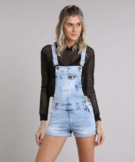 Jardineira-Jeans-Feminina-Marmorizada-com-Puidos-e-Barra-Dobrada-Azul-Claro-9204370-Azul_Claro_1