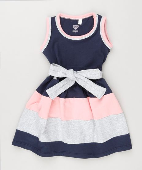 Vestido-Infantil-Regata-com-Laco-Decote-Redondo-em-Algodao---Sustentavel-Azul-Marinho-8661965-Azul_Marinho_1