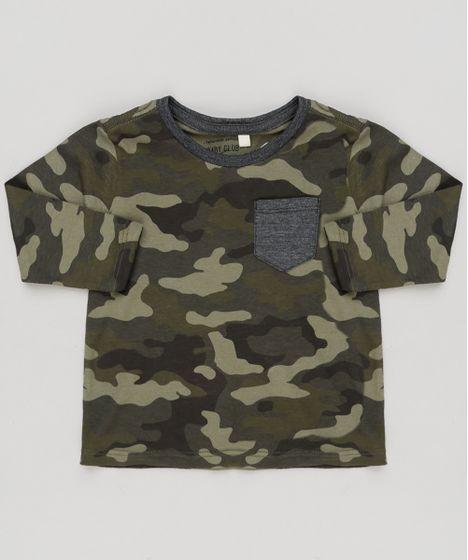 Camiseta Infantil Estampada Camuflada com Bolso Manga Longa Gola ... 53a5c267f93