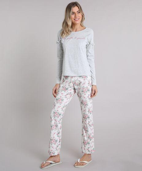 Pijama-Feminino--Be-Gentle-to-Yourself--com-Babado-Manga-Longa-Cinza-Mescla-9122672-Cinza_Mescla_1