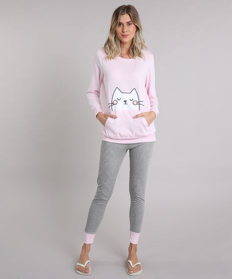 Pijama-Feminino-em-Moletom-Gatinho-Manga-Longa-Rosa-Claro-9122660-Rosa_Claro_1