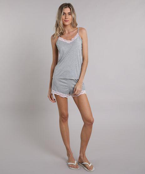 Short-Doll-Feminino-com-Renda-Alca-Fina-Cinza-Mescla-9086298-Cinza_Mescla_1