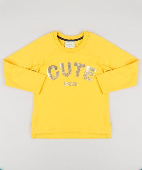 Blusao-Infantil-em-Moletom--Cute--Manga-Longa-Decote-Redondo-Amarelo-9195317-Amarelo_1