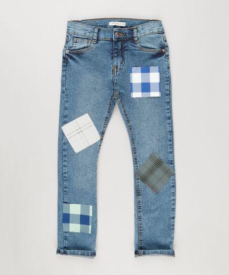 Calca-Jeans-Infantil-com-Retalho-Xadrez-Azul-Medio-9164722-Azul_Medio_1