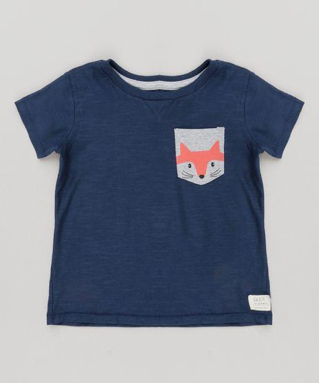 Camiseta-Infantil-com-Bolso-Estampado-Raposa-Manga-Curta-Gola-Careca-em-Algodao---Sustentavel-Azul-Marinho-9133430-Azul_Marinho_1