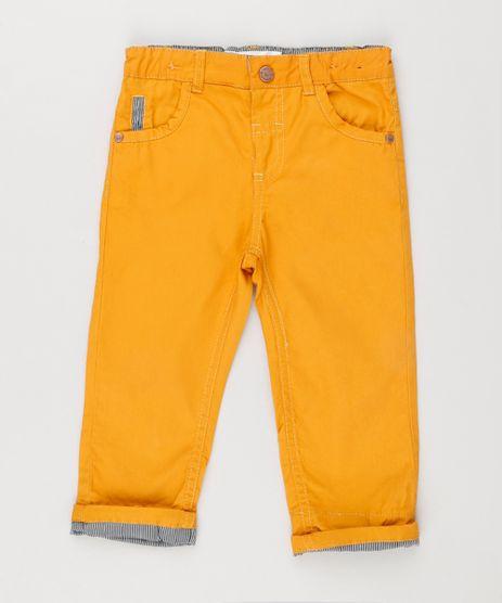Calca-Color-Infantil-com-Barra-Dobrada-Listrada-Amarelo-Escuro-8950639-Amarelo_Escuro_1