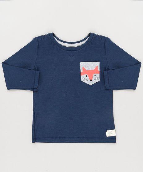 Camiseta-Infantil-com-Bolso-Estampado-Raposa-Manga-Longa-Gola-Careca-em-Algodao---Sustentavel-Azul-Marinho-9133429-Azul_Marinho_1