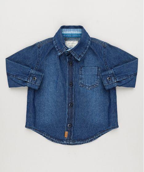 82980fe2a4793 Camisa Jeans Infantil com Bolso Manga Longa Azul Escuro - cea