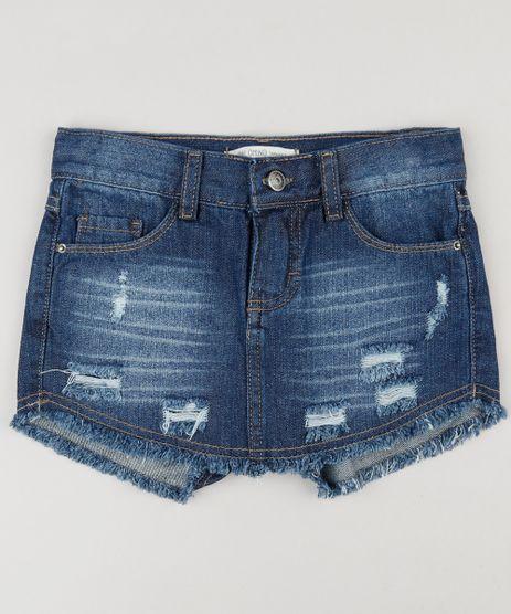 Short-Saia-Jeans-Infantil-Destroyed-com-Barra-Desfiada-Azul-Escuro-9211559-Azul_Escuro_1