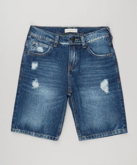 Bermuda-Jeans-Infantil-Destroyed-Azul-Escuro-9164612-Azul_Escuro_1