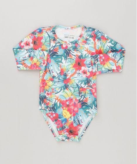 9592a2669 Maiô Body Infantil Estampado Floral Manga Longa com Proteção ...