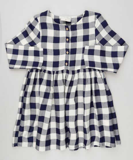 Vestido-Infantil-Xadrez-com-Botoes-Manga-Longa-Decote-Redondo-Off-White-9033545-Off_White_1