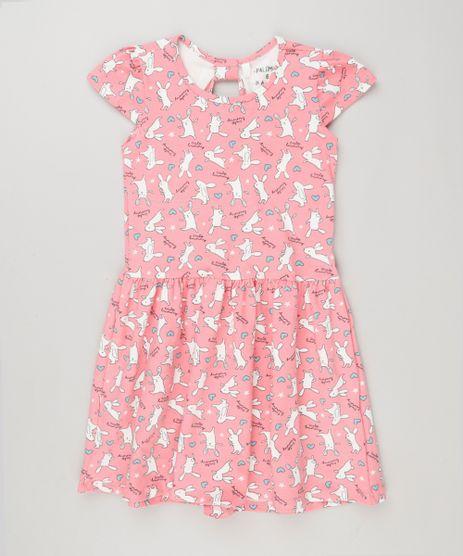 Vestido-Infantil-Estampado-de-Coelhos-Manga-Curta-em-Algodao---Sustentavel-Rosa-9137998-Rosa_1