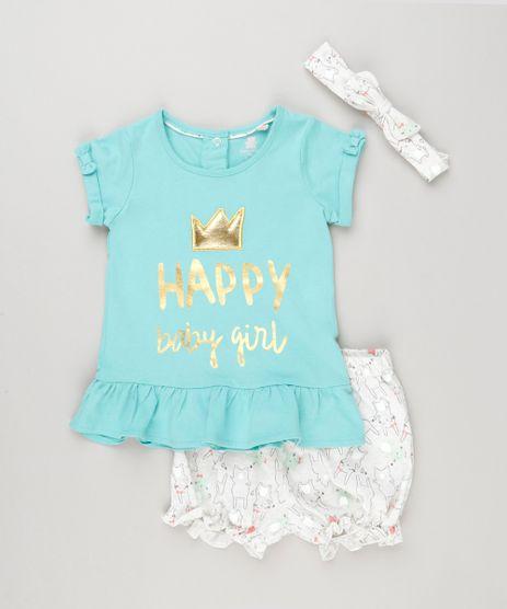 Conjunto-Infantil-de-Blusa--Happy-Baby-Girl--Manga-Curta-Verde---Short-Estampado-de-Coelho---Faixa-de-Cabelo-em-Algodao---Sustentavel-Off-White-8953276-Off_White_1