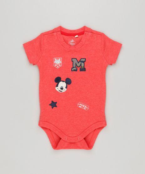 Body-Infantil-Mickey-com-Patches-Manga-Curta-Gola-Careca-em-Algodao---Sustentavel-Vermelho-8942679-Vermelho_1