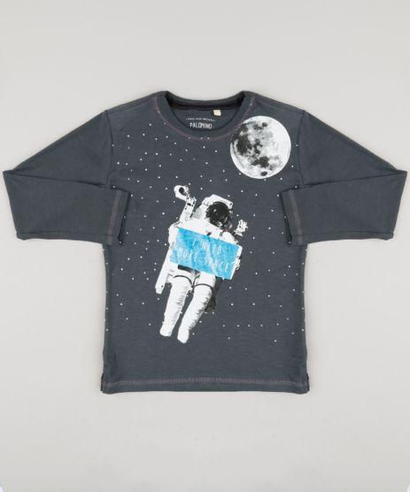 Camiseta-Infantil-Astronauta--I-Need-More-Space--Manga-Longa-Gola-Careca-Chumbo-9183622-Chumbo_1