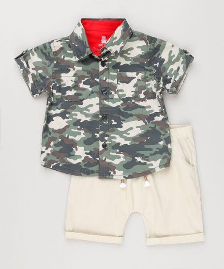 Conjunto-Infantil-de-Camisa-Camuflada-Manga-Curta---Bermuda-com-Bolsos-em-Algodao---Sustentavel-Kaki-8950640-Kaki_1