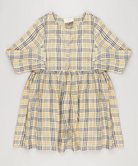 Vestido-Infantil-Xadrez-com-Botoes-Manga-Longa-Decote-Redondo-Amarelo-9033546-Amarelo_1