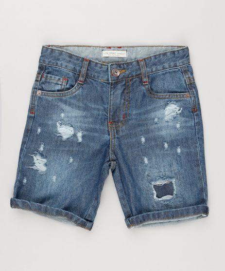 Bermuda-Jeans-Infantil-Destroyed-Azul-Escuro-9148467-Azul_Escuro_1