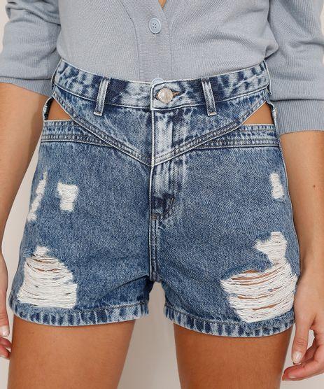Short-Mom-Jeans-Destroyed-Marmorizado-com-Vazado-Cintura-Super-Alta-Azul-Medio-9992721-Azul_Medio_1