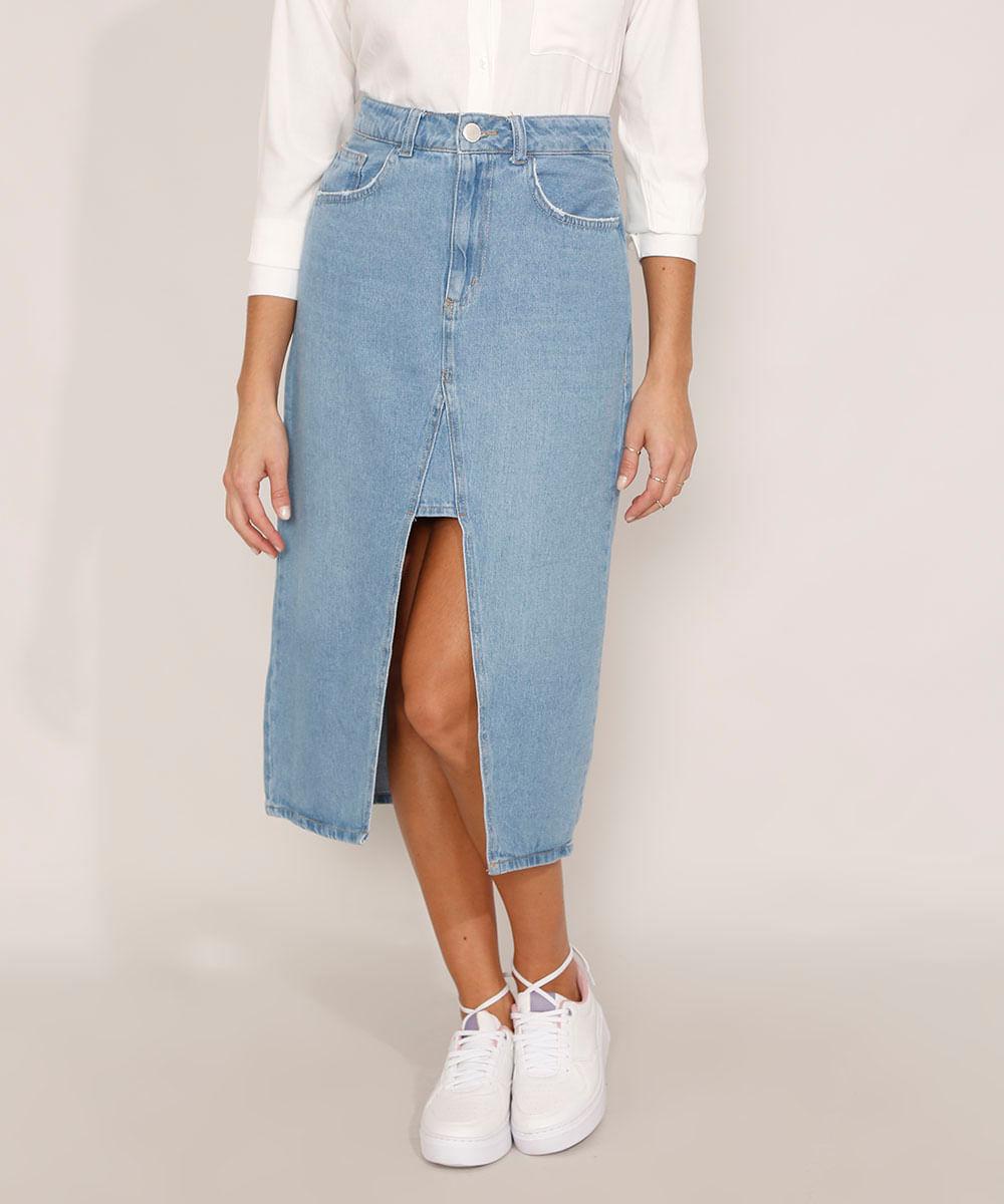 Saia Jeans com Fenda Midi Azul Médio