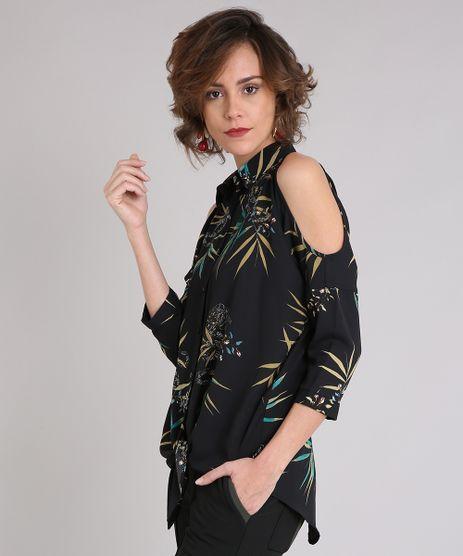 Camisa-Feminina-Estampada-de-Folhagem-Open-Shoulder-Alongada-com-Vazados-Manga-Longa-Preta-9029327-Preto_1