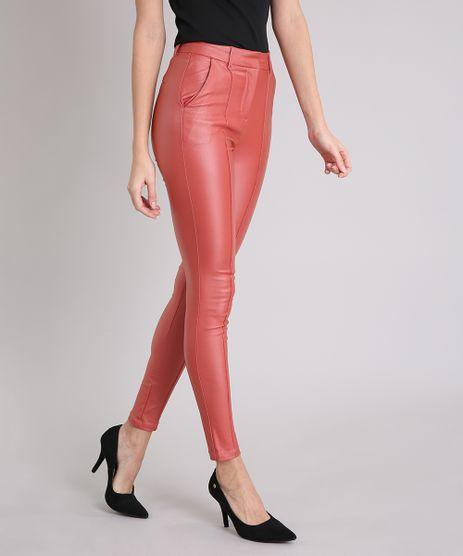 Calca-Feminina-Skinny-Resinada-com-Friso-Coral-8688933-Coral_1