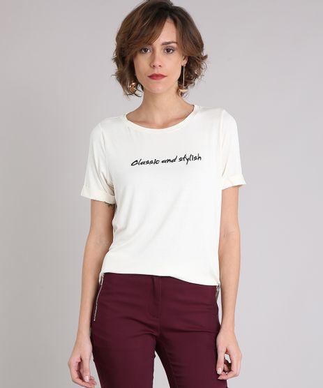 Blusa-Feminina--Classic-and-Stylish--com-Bordado-Manga-Curta-Decote-Redondo-Off-White-9210484-Off_White_1