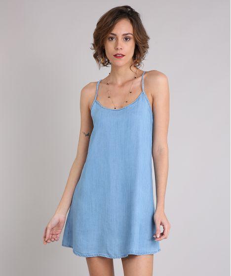 Vestido Jeans Feminino Curto com Alça Fina Decote Redondo Azul Claro ... f08bc43b3c