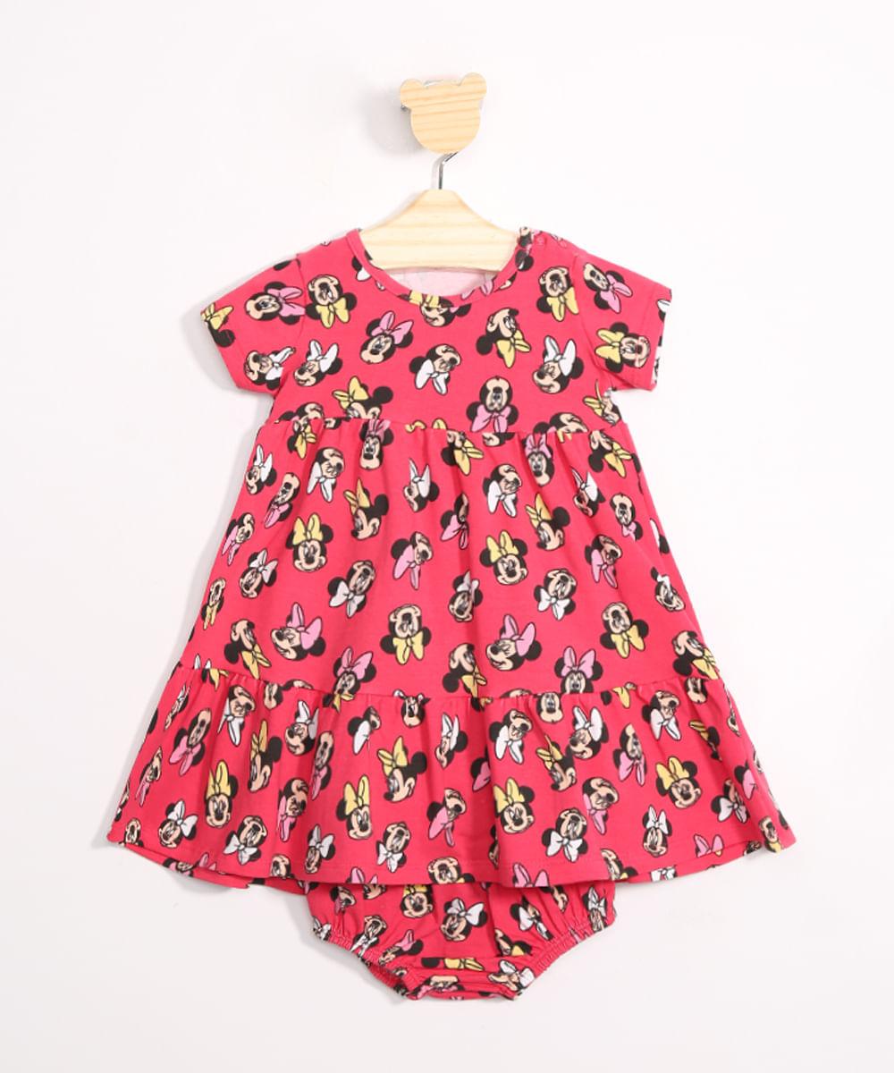 Vestido Infantil Estampado Minnie Manga Curta + Calcinha Rosa Escuro