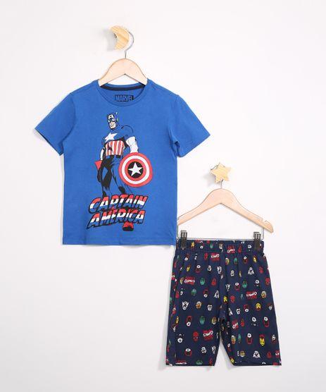 Pijama-Infantil-de-Algodao-Capitao-America-Manga-Curta-Azul-9983634-Azul_1