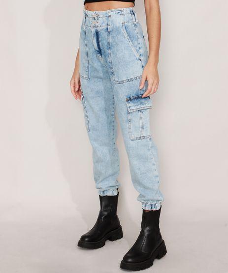 Calca-Jogger-Cargo-Jeans-Marmorizada-Cintura-Super-Alta-Azul-Claro-9988930-Azul_Claro_1