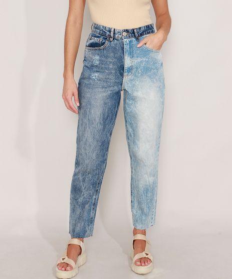 Calca-Mom-Jeans-Marmorizada-com-Lavagem-Contrastante-Cintura-Super-Alta-Azul-Medio-9988939-Azul_Medio_1