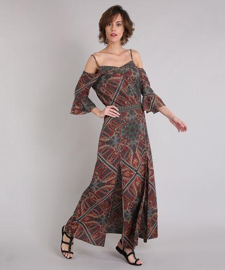 Vestido-Feminino-Estampado-Paisley-Longo-com-Fendas-Open-Shoulder-Manga-Curta-Decote-V-Verde-Militar-9062678-Verde_Militar_1
