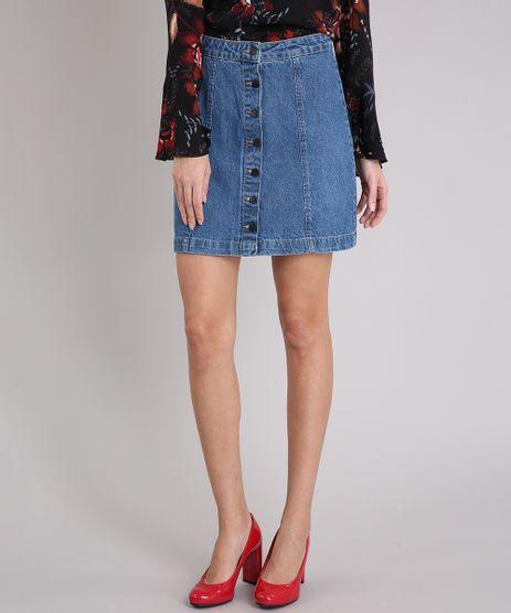 Saia-Jeans-Feminina-Cintura-Alta-com-Botoes--Azul-Medio-9133688-Azul_Medio_1