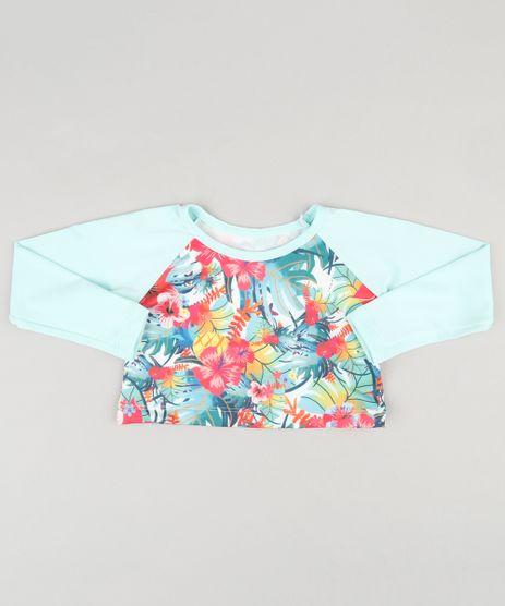 Blusa-de-Praia-Infantil-Cropped-com-Protecao-UV50--Estampada-Floral--Verde-Claro-9120379-Verde_Claro_1