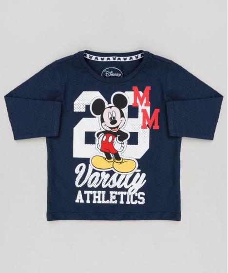 Camiseta Infantil Mickey Manga Longa Gola Careca Azul Marinho - cea 1ca3d48dc7b5f