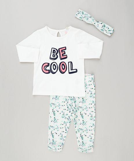 Conjunto-Infantil-de-Blusa-Manga-Longa-Off-White---Calca-Legging-Estampada-Floral---Faixa-de-Cabelo-em-Algodao---Sustentavel-Verde-Claro-8959633-Verde_Claro_1