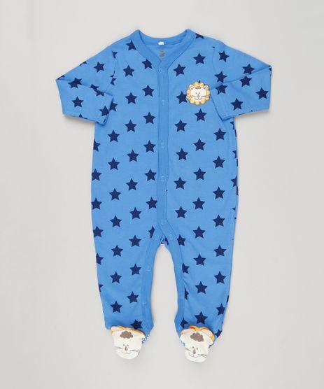 Macacao-Infantil-Leao-Estampado-de-Estrelas-Manga-Longa-em-Algodao---Sustentavel-Azul-8941287-Azul_1