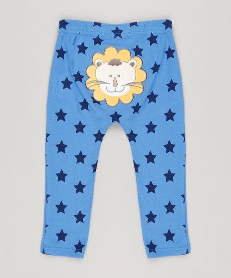 Calca-Infantil-Leao-Estampada-de-Estrelas-em-Algodao---Sustentavel-Azul-8941245-Azul_1