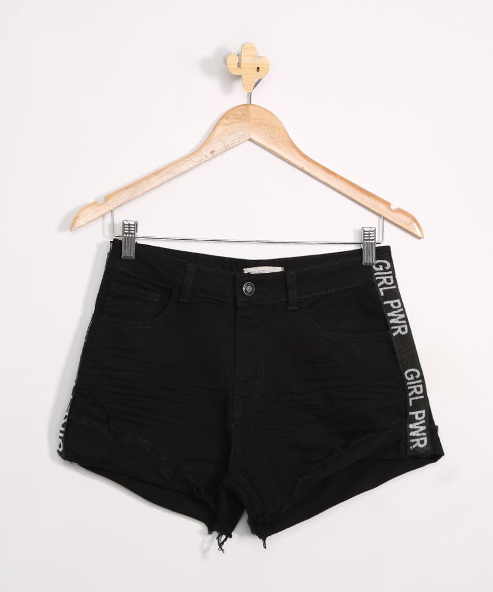 Short Jeans Juvenil Destroyed com Estampa Lateral Preto
