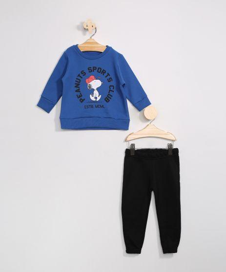 Conjunto-Infantil-de-Moletom-Blusao-Snoopy-Azul---Calca-Jogger-Preta-9976214-Preto_1