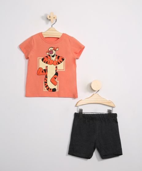 Conjunto-Infantil-Camiseta-Tigrao-Manga-Curta-Laranja---Bermuda-Cinza-Mescla-Escuro-9975699-Cinza_Mescla_Escuro_1