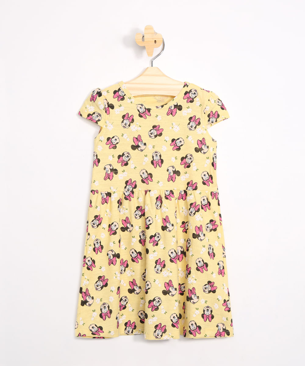 Vestido Infantil Estampado Minnie Floral Manga Curta Decote Redondo Amarelo