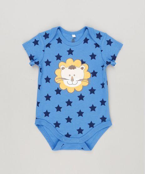 Body-Infantil-Leao-Estampado-de-Estrelas-Manga-Curta-Gola-Redonda-em-Algodao---Sustentavel-Azul-8941259-Azul_1